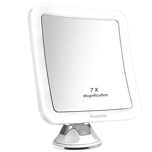 Auxmir Kosmetikspiegel LED Beleuchtet mit 7X Vergrößerung und Starkem Saugnapf, 360° Schwenkbar, Schminkspiegel Viereckig mit Blendfreier Beleuchtung für Zuhause und Unterwegs