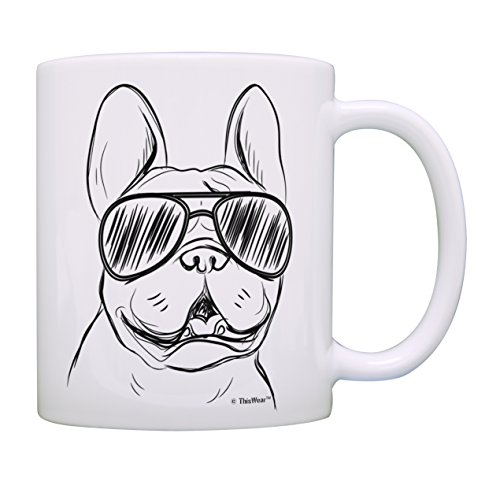 Dog Lovers Gifts French Bulldog Wearing Sunglasses Frenchie Cup Dog Owner Gifts Coffee Mug Tea Cup White
