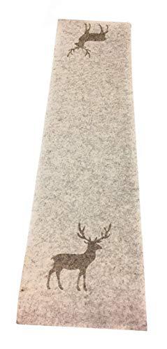 Boltze Collections tafelloper Tjark vilt beige met hert 120 x 30 cm