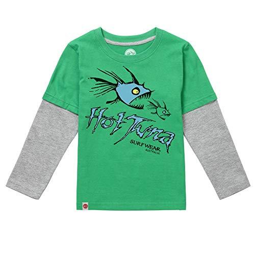 Hot Tuna Jungen NomKidsLs Langarmshirt, Grün (Green/Grey Ggm), 6-7 Jahre