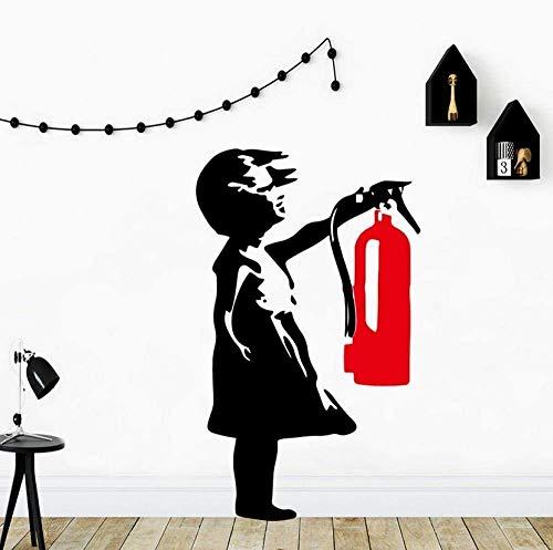 Adhesivo De Pared Moderno Y Girl Extintor De Incendios Pegatinas De Pared Pegatina Decorativa Decoración Del Hogar Para Habitaciones De Niños Decoración Del Hogar Calcomanías Artísticas 28X46Cm