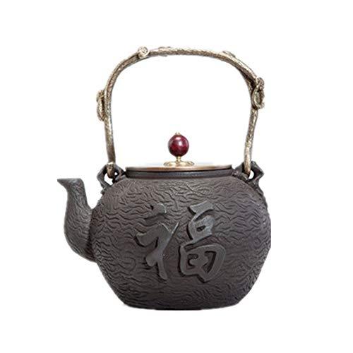 Yinglihua gietijzeren theepot 1200ML gietijzeren theepot Chinese modus Handmatig handvat Anti-scald Flat Pot Tea Set Theeketel voor kachel Top