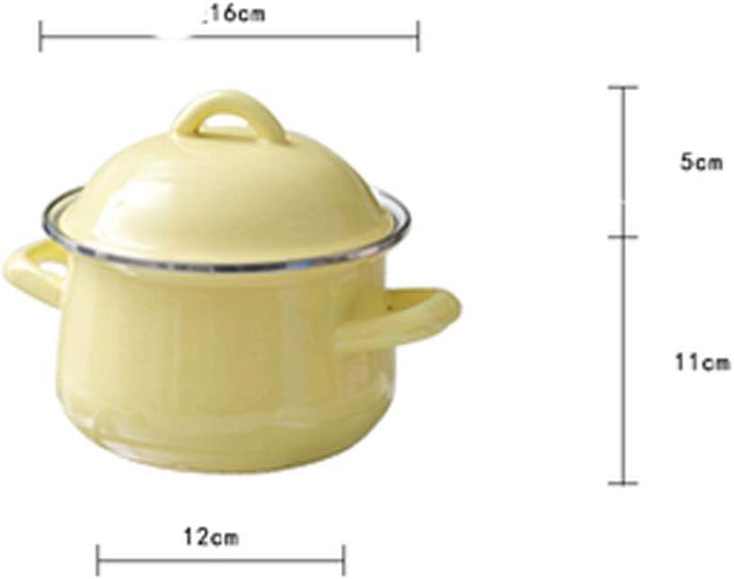 SHYOD Pot en émail de 1,5 L, Pot de Lait avec Couvercle, Pot de complément Alimentaire pour bébé, Pot de Nouilles, Pot de Cuisson à Induction (Color : A) B