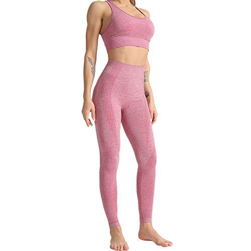 WodoWei Women 2 Piece Workout Outfits Sports Bra Seamless Leggings Yoga Gym Activewear Set (YO610-Pink-M)
