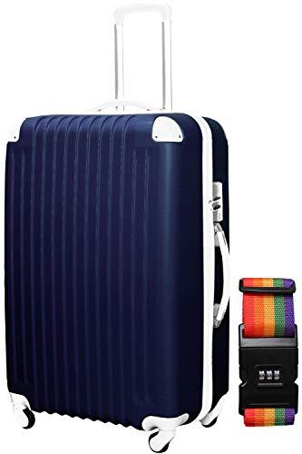 DABADA(ダバダ) スーツケース ベルト付 キャリーケース 機内持込 S M L ファスナー TSAロック (S, ネイビー)