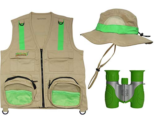 Eagle Eye Explorer Kids Cargo Vest with Safety Reflective Strip, 8X21 Binoculars for Children and Floppy Bucket Safari Sun Hat Combination Set (Medium/Large, Tan and Green)