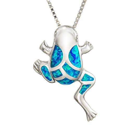 Aloha Jewelry Company Sterling Silver Created Blue Opal Hawaiian Coqui Frog Necklace Pendant with 18' Box Chain