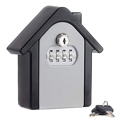 Caja de almacenamiento segura de llave de repuesto de forma de casa pequeña para el hogar Familia Realtor impermeable botón botón código combinación contraseña caso (gris)