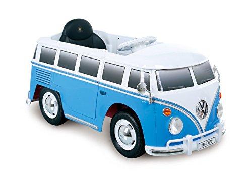 ROLLPLAY Premium Elektrofahrzeug mit Fernsteuerung und Rückwärtsgang, Für Kinder ab 3 Jahren, Bis max. 35 kg, 12-Volt-Akku, Bis zu 4 km/h, VW Bus T1 (Typ 2), Blau