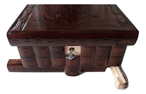 AZi Big Wooden Magic Puzzle Box Secret Treasure Storage Beautiful Special handcarved Jewelry Box case (Chocolate Brown)