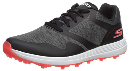 Skechers Women's Max Golf Shoe, Black/Pink Heathered, 7 M US