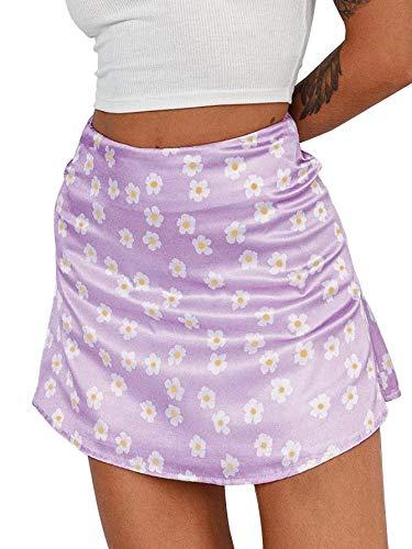 LYANER Women's Casual Floral Print Satin Silk High Waist Zipper Mini Short Skirt Purple Small