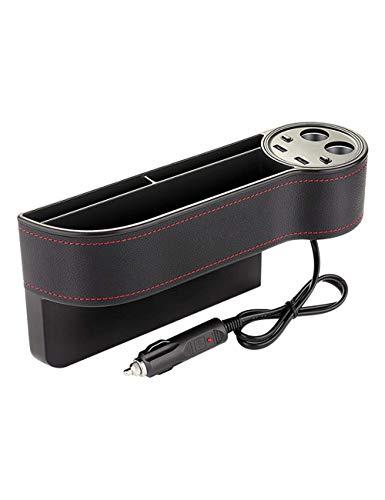 FWXQ Autositz Gap Organizer PU Leder Auto Seitentasche mit 2 USB-Ports und Wireless Charging Aufbewahrungsfach für Auto füllt Lücken Zwischen den Sitzen