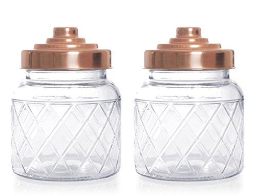 Küchen-Vorratsglas mit Gitter-Design und Kupferdeckel, 600 ml, 2 Stück
