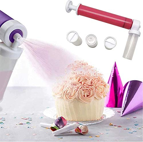 XIAOMIAO Manual Airbrush for Cake DIY Baking, New Manual Cake Spray Gun Spray Tube with 4 Pcs Vial, Decorating Cakes, Cupcakes and Desserts,Cake Icing Coloring Tool, Kitchen Supplies Tool (Red)