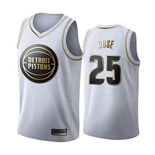 BXWA-Sports Basketball Trikot für Herren Jersey # 25 Derrick Rose Detroit Pistons Platinum Fan Edition Trikots Atmungsaktive Mesh Einheitliche Fitness Sport Wettkampfweste,S(170cm/50~65kg)