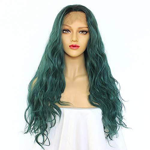 Perruque pour femme avec dentelle frontale en fibres synthétiques vertes longues bouclées et grandes vagues