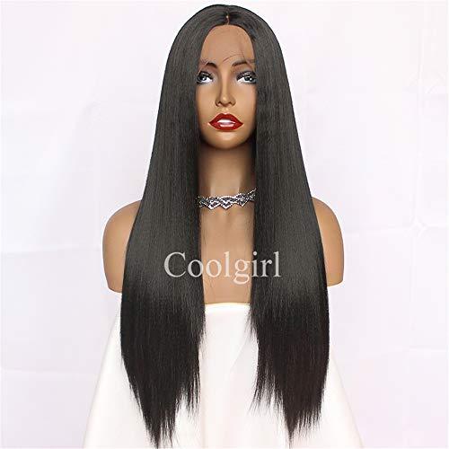 Missyvan 180% sintetico pizzo frontale parrucca # 1B colore capelli lisci pizzo frontale parrucca capelli bambino resistente al calore fibra naturale capelli linea media profonda parte