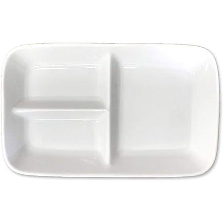 【1枚】仕切りプレート 約15.2×24.3×高3.4cm プレート 皿 食洗機OK 電子レンジOK 日本製 美濃焼 白い食器 ランチプレート 仕切り皿 仕切皿 白 スクエア 四角 食器 通販 器 仕切り 区切り おしゃれ カフェ風 子供 キッズプレート 白磁