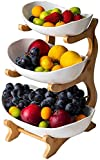 Poetance Fruttiera a 3 piani per frutta in ceramica con supporto in legno per dessert di frutta e snack (bianco)