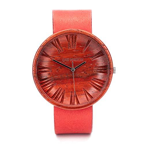 Relojes Rojo Mujer, Reloj de Madera, Reloj Ligero y Elegante, Red Womens Ovi Wristwatch,