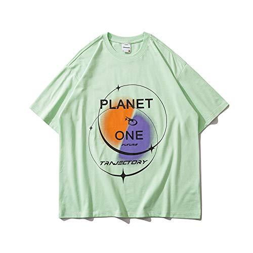 DREAMING-Las Camisetas Son Una Sudadera De Verano De Manga Corta con Camisetas Sueltas De Algodón De Cuello Redondo Estampadas para Hombres Y Mujeres. Green X-Large