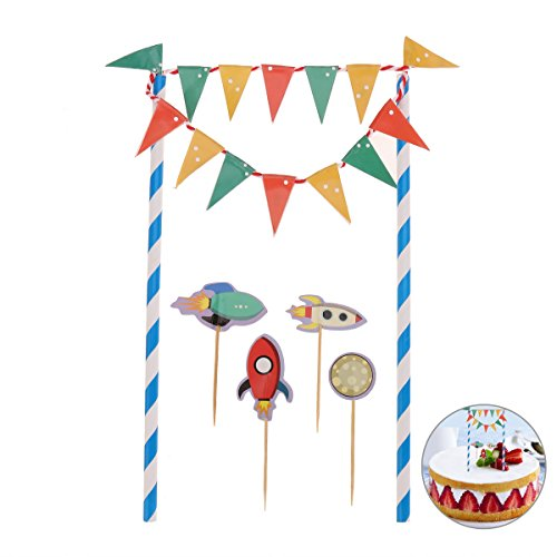 Tinksky Raumschiff Cartoon Kuchen Bunting Banner Flagge Toppers Picks Wrap Geburtstag Baby Dusche Dekorieren Kits