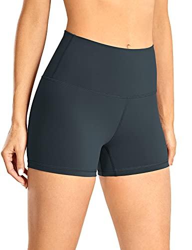 "CRZ YOGA Women's Naked Feeling Biker Shorts - 3"" / 4"" / 6"" High Waist Yoga Workout Running Shorts Melanite - 3 inches Small"
