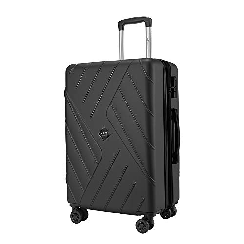 ATX Luggage 56cm Super Lightweight Durable Hardshell ABS Carry On Cabin Hand Luggage Suitcases Travel Bag with 8 Wheels & Built-in Lock for EasyJet, BA, Jet2(56cm - Carry-on (Non-Expandable), Black)