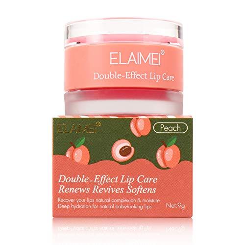 Lip Sleeping Mask, with Lip Scrubs Exfoliator & Moisturizer , Double Effect Lip Mask Overnight for Dry, Lip Masks Treatment, Cracked Lips, Peeling Lip Primer, Lip Repair Balm - Peaches