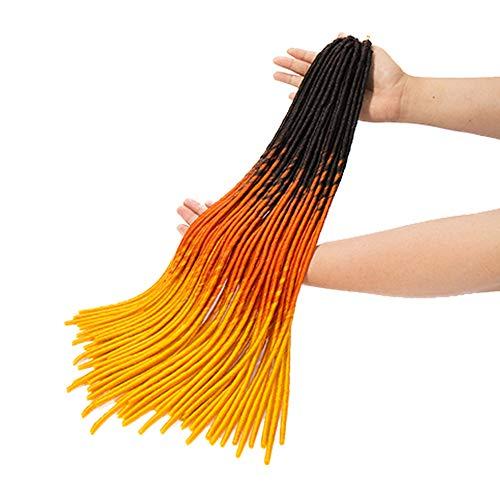 Faux Locs Braids Trichrome Meches Pour Tresses Africaine Rajout Cheveux Crochet Braids Fauxlocs Ombre Braiding Hair Extension, Noir & Orange & Doré