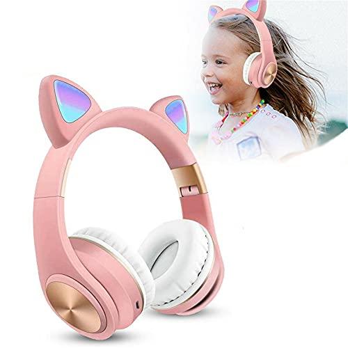 Auriculares Bluetooth, Auriculares inalámbricos para la Oreja del Gato, LED Enciende Auriculares estéreo sobre Oreja con micrófono, Control Plegable y Volumen, Rosa