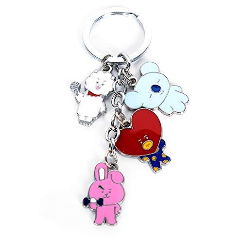 Hosston BTS Key Chain, KPOP Bangtan Boys Cute Cartoon Keychain Key Ring Hot Gift for A.R.M.Y(Style 01)