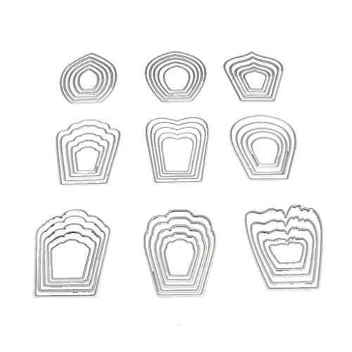 Bottone Die Cuts Metal Cutting Dies Stamps Embossing Stencil Template Mould for Card Making Scrapbooking Album Paper DIY Crafts Decoration(Flower)