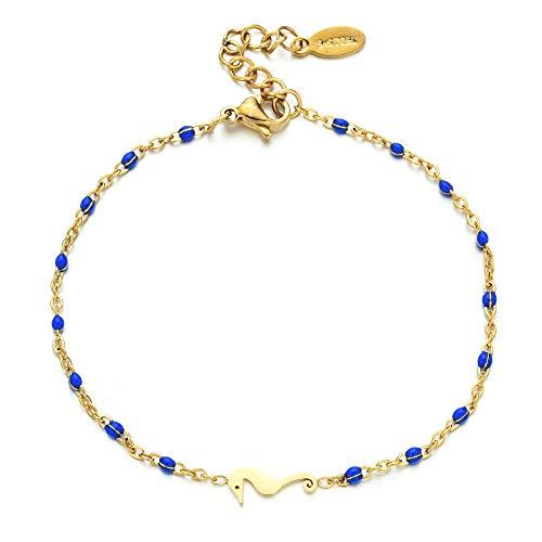 CHWEI Knitted Hat Armbänder Zarte niedliche Frauen Regenbogen Armband Seepferdchen Pulsera Kette Armbänder für Frauen Schmuck Emaille Perlen Handmade Geschenk blau