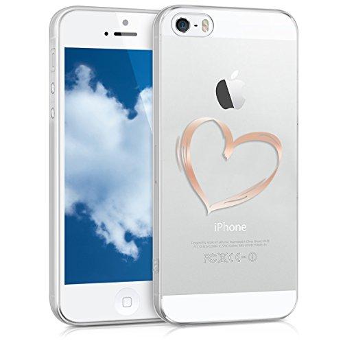 kwmobile Cover Compatibile con Apple iPhone SE (1.Gen 2016) / 5 / 5S - Back Case Custodia Posteriore in Silicone TPU Cover per Smartphone - Back Cover Cuore Oro Rosa/Trasparente