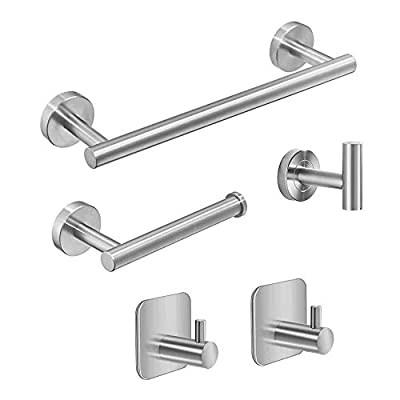 5-Piece Set-Bathroom Hardware Set Stainless Steel Include Lengthen Hand Towel Bar, Toilet Paper Holder, 3 Robe Towel Hooks, Bathroom Hardware Accessories Set, Wall Mounted, Brushed Nickel