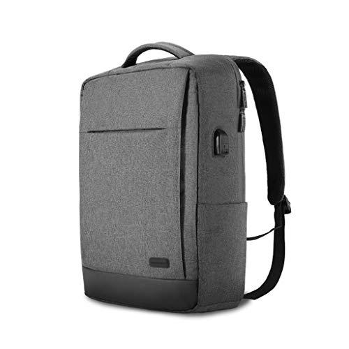 FH 男性と女性の学生のバックパック、USB充電ポート付き15.6インチラップトップバックパックビジネスバックパック、17.5L防水コンピュータバックパック (Color : Dark gray)