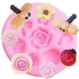 FGHHT Moldes de Silicona de Flor de Rosa 3D, Molde de Chocolate con Fondant de libélula Mariquita, Herramientas de decoración de Pasteles, moldes de Arcilla polimérica de Caramelo