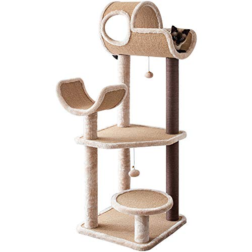 Catry, Large Cat Tree Tower with Scratching Posts Hammock Tunnel for Multiple Cats Activity Center