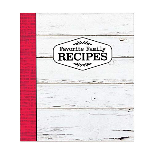 Brownlow Gifts Binder Set with Plastic Page Protectors and Recipe Cards, 8 x 9-Inches, Red & White Farmhouse