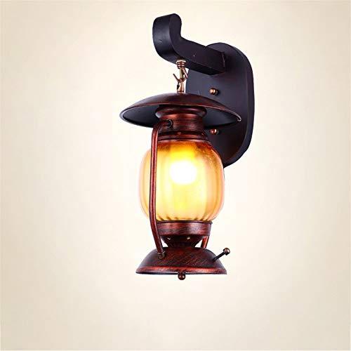 Buitenlamp, wandverlichting, wandlamp, binnen, petroleumlamp, lantaarn, klassiek antiek glazen scherm, houten sokkel, wandlamp, wandlamp, gedecoreerd Zuid-Aziatische restaurant Ind