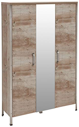 Schildmeyer Schuhschrank Chicago mit zwei gedämpften Türen, Melaminharzbeschichtete Spanplatte, Findus eiche, 33.6 x 105.7 x 162 cm