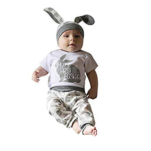 Ostern Baby Kleidung Set My First Easter Neugeborenes Mädchen Jungen Cartoon Erste Ostern 5D Bunny Outfits Romper + Bunny Pants + Rabbit Hut Set Mein erstes Ostern Babybekleidung