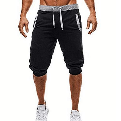 Pantalon 3/4 Hombre Deporte Verano 2019 Nuevo SHOBDW Casual Pantalones Hombre Chandal Cordón Fitness Baratos Pantalones Cortos Hombre Deporte con Bolsillos Tallas Grandes(Negro,XL)