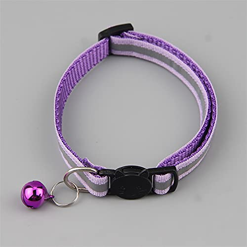 JHGJHG Color Reflectante Safety Hebilla Cuello Cuello Cuello Pet Cat Bell Cuello Collar Personalizado Cuello Personalizado (Color : Purple)