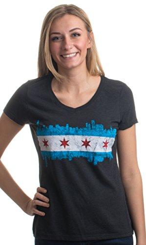 Chicago City Flag Skyline | Vintage Retro Triblend V-Neck Shirt Top for Women-(Vneck,L)