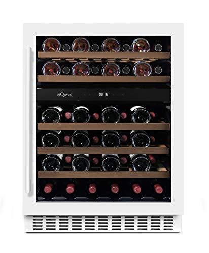 mQuvee Weinkühlschrank Unterbau/Einbau WineCave 60D Powder White, Platz für bis zu 45 Flaschen, 2 Temperaturzonen 5-20°C, Breite 60 cm