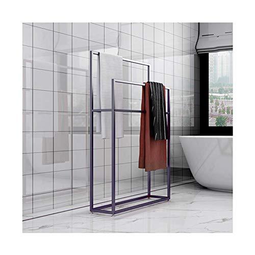 Moderno estante de toalla independiente 4 barras de metal toallero soporte de 2 niveles toalla de baño escalera para mantas, mantas de tiro, edredones 85 x 20 x 110 negro