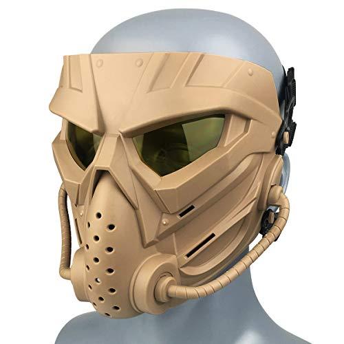 Wwman Paintball Máscara para Uso en Exteriores, CS Cosplay Máscara Facial táctica Resistente al Desgaste con Gafas antivaho, para Adultos y jóvenes Halloween (WWZL3-TAN-Y)
